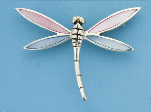 Genuine 925 Sterling Silver 60mm Dragonfly Brooch With Mother Of Pearl Wings